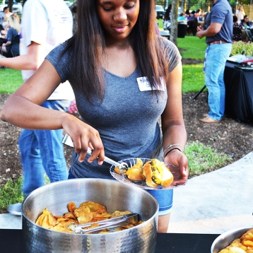 Kamri Griffin is a freshman nursing major who attended the First to Go Welcome dinner hosted by President O'Rear. Photo by Madeline Oden