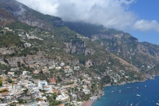 Rocky city built into the side of the mountains along the Amalfi Coast of Italy.