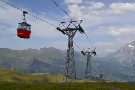 A lift leading to the top of mount Mannlichen in Switzerland.