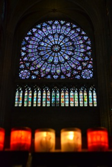 Inside the Notre-Dame de Paris Cathedral. Pictured above are candles lit by visitors.