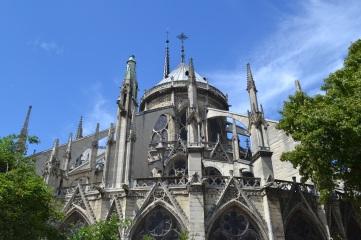 Behind the Notre-Dame de Paris Cathedral.